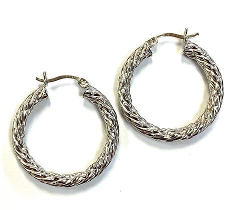 Rope Engraved Hoop Earrings