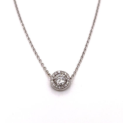 White Gold Diamond Halo Necklace