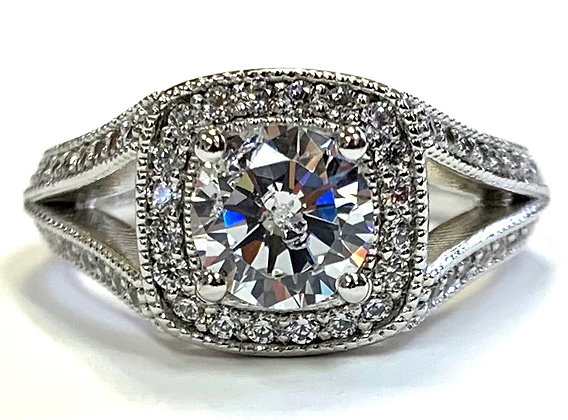 Halo Engagement Ring With Split Shoulders and Milgrain Accents