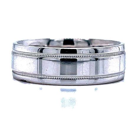 Reverse Milgrain Frame Wedding Ring