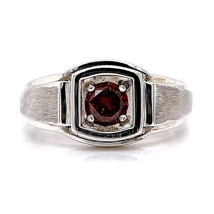 Rich Orange Diamond Ring In Sterling Silver 0.70 Carat