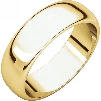 6mm Half Round Polished Wedding Ring