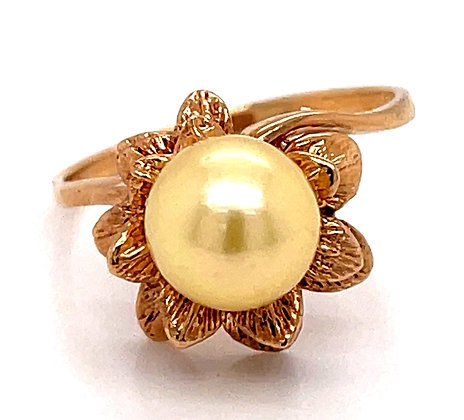 Golden Cultured Pearl Floral Ring