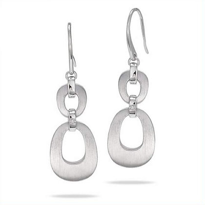 Oval Dangle Earrings w/ Diamond Accent