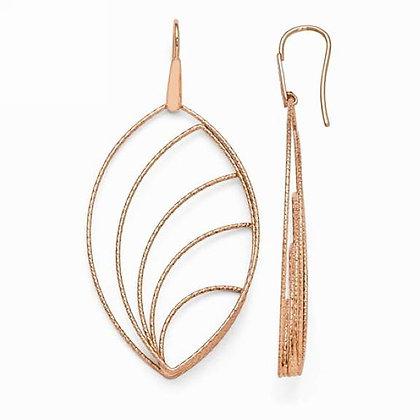 Rose-Tone Leaf Earrings