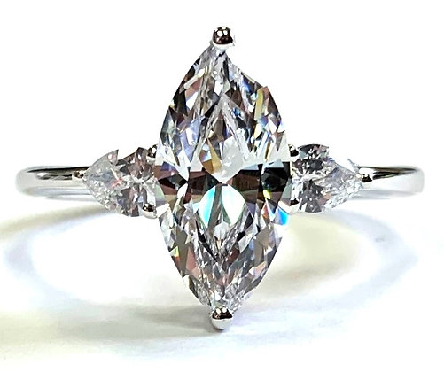 Pear Accent Engagement Ring Mounting