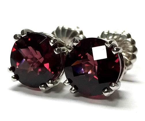 Rhodolite Garnet Stud Earrings