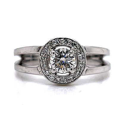 Diamond Halo Split Shoulder Engagement Ring