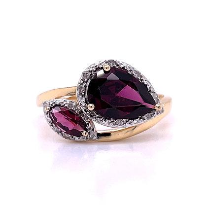 Rhodolite Garnet & Diamond Bypass Ring
