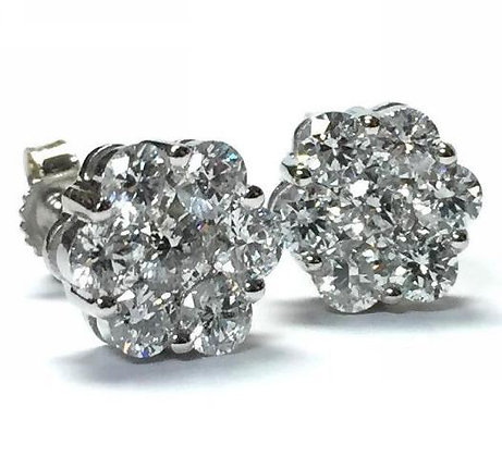 Diamond Cluster Earrings- 1 CTW