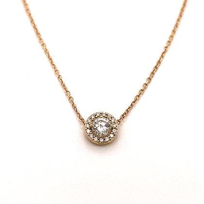 Yellow Gold Diamond Halo Necklace
