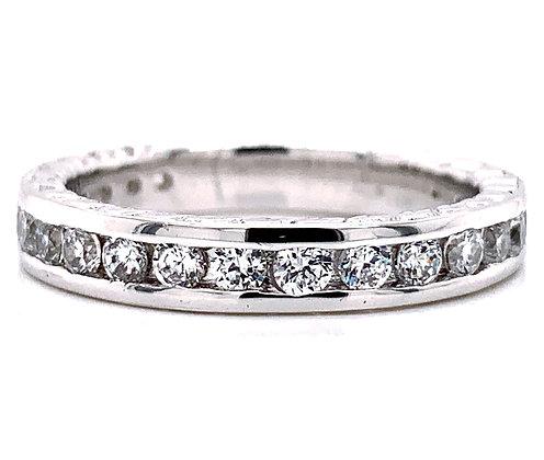 Wheat Engraved Diamond Wedding Ring