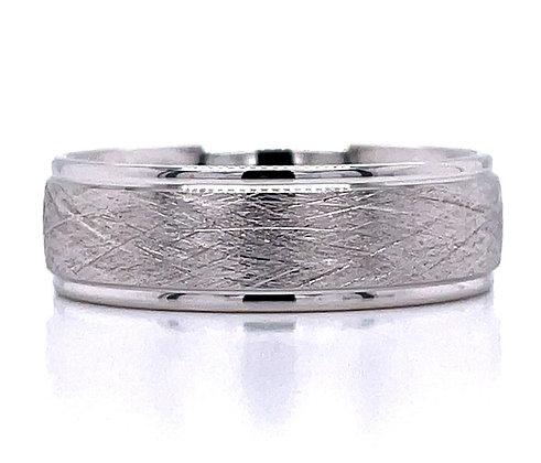 Crosshatch Satin Finish Wedding Ring