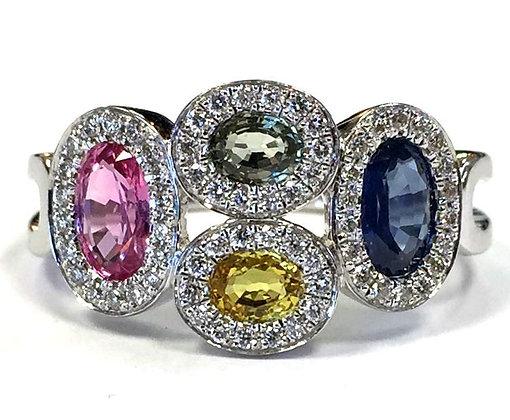 Sapphire & Diamond Cobblestone Ring