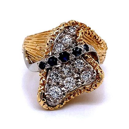 Retro Free-Form Diamond & Sapphire Ring