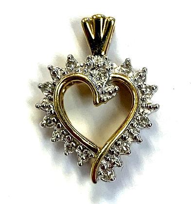Tutone Diamond Heart Pendant