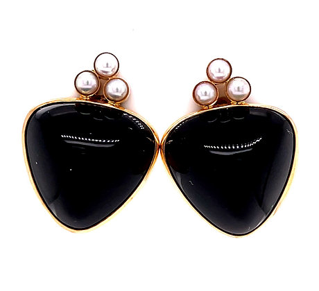 Onyx & Cultured Pearl Earrings