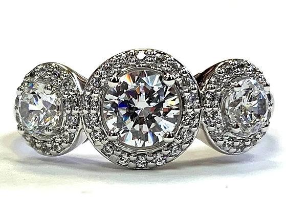 Three-Stone Halo Engagement Ring Mounting