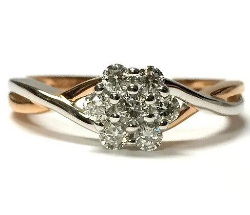 White & Rose Gold Diamond Cluster Ring