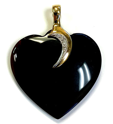 Onyx & Diamond Heart Pendant
