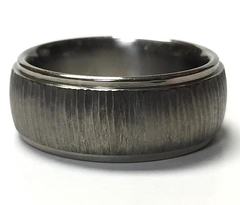 Titanium Tree Bark Wedding Ring
