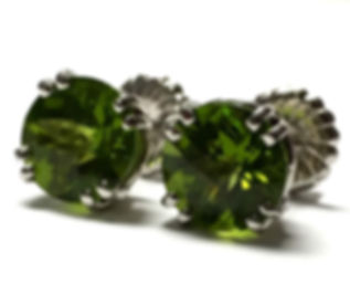white gold peridot stud earrings