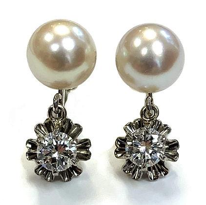Akoya Pearl & Diamond Earrings c.1960