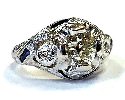 Vintage Edwardian Sapphire & Diamond Ring