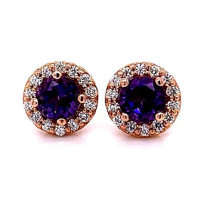 Amethyst & Diamond Halo Earrings