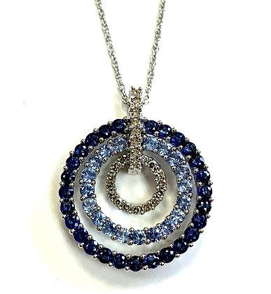 Triple Halo Sapphire & Diamond Necklace