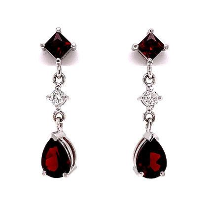 Garnet & Diamond Dangle Earrings