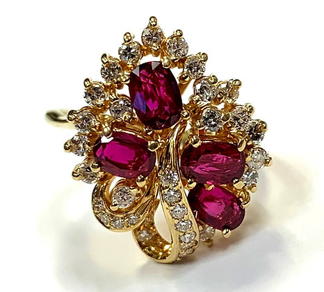 Ruby & Diamond Waterfall Ring