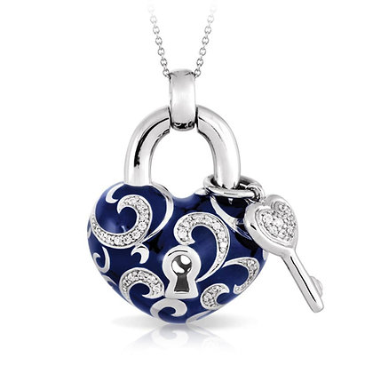 """Key to My Heart"" Blue Necklace"