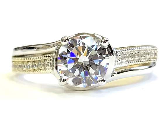 Subtle Bypass Diamond Engagement Ring Mounting
