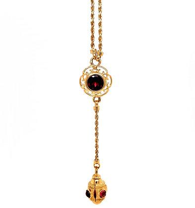 """Garnet """"Y"""" Drop Necklace"""