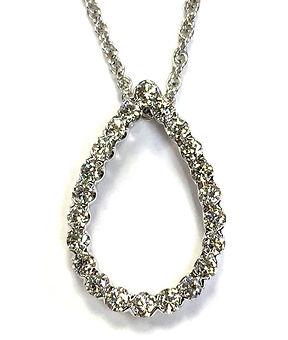 white gold diamond teardrop pendant