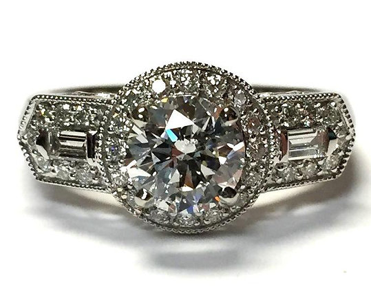 Diamond Halo Engagement Ring Mounting With Baguette Accents