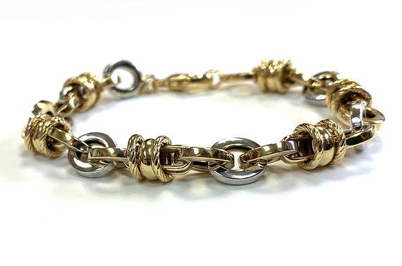 Fancy Link Two-Tone Gold Bracelet