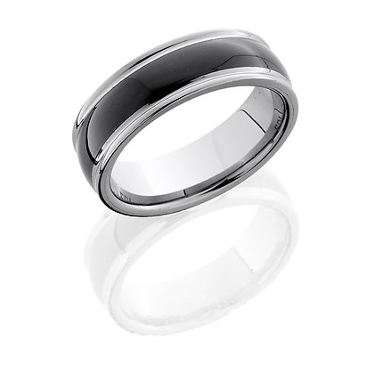 Tungsten Black Ceramic Inlay Wedding Ring