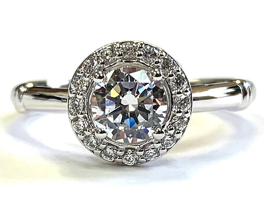 Band Accent Halo Diamond Engagement Ring Mounting