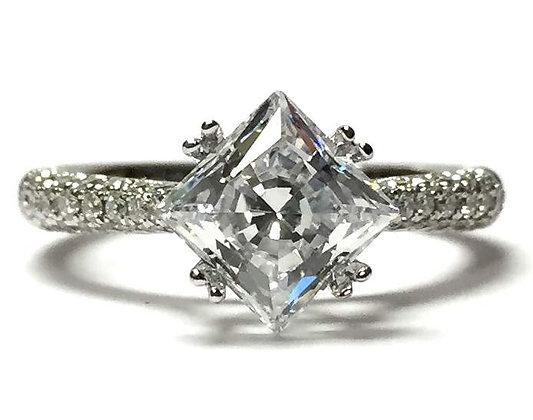 Kite Set Pave Diamond Engagement Ring Mounting