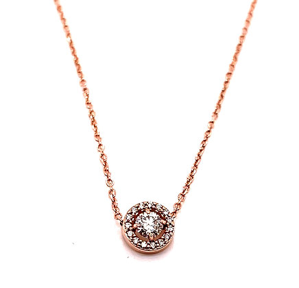 Rose Gold Diamond Halo Necklace