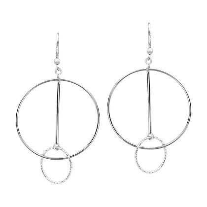 Interlocking Circle & Bar Earrings