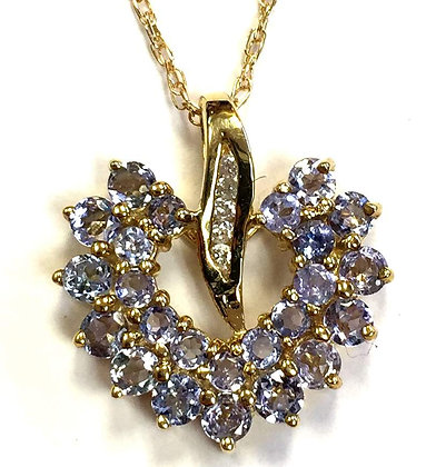 Tanzanite Heart Pendant; European
