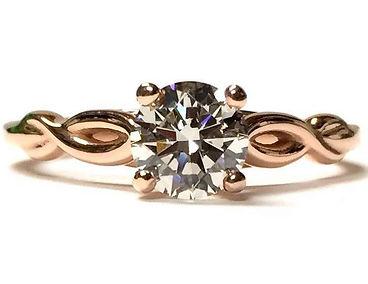 rose gold twist diamond engagement ring
