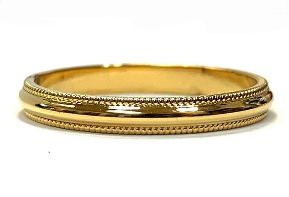 2.5mm Half Round Milgrain Wedding Ring