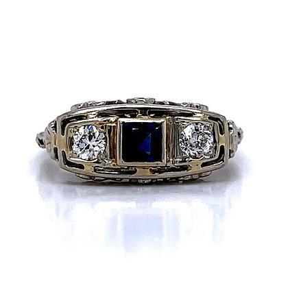 Diamond & Synthetic Sapphire 3-Stone Ring