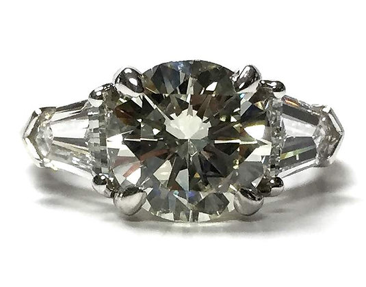 Custom Designed Diamond Ring w/ Shield Shape Shoulders