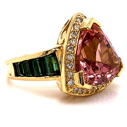 Custom Designed Tourmaline & Diamond Ring
