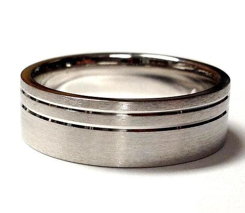 Asymmetrical Lined Wedding Ring